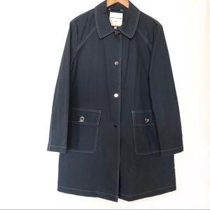 Larry Lavine Rain Coat Navy Blue Size Large